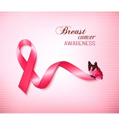 Background with pink breast cancer ribbon and vector