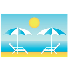 Beach chaise lounges vector image vector image