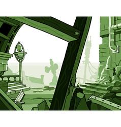 Cartoon ruins of houses vector