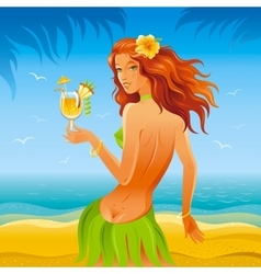 Day beach background with beautiful hula girl and vector