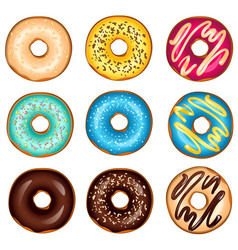 different glazed colored donuts set vector image vector image