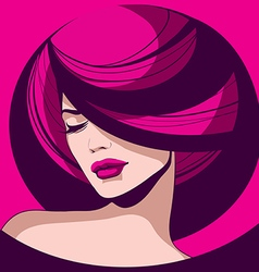 Elegant girl with red lips vector