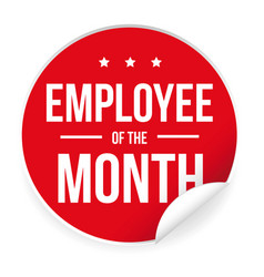 Employee of the month label sticker vector