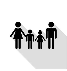 family sign black icon with flat style shadow vector image