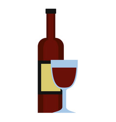 Glass of red wine and a bottle icon isolated vector