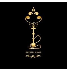 Golden shisha hookah black silhouette vector