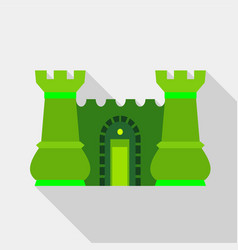Green ancient fortress with towers icon flat style vector