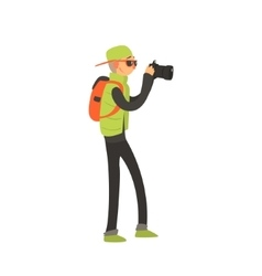 Guy with backpack taking photo vector