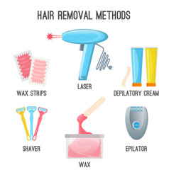 hair removal methods set of icons on vector image vector image