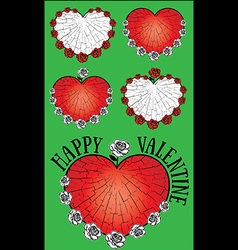 heart and roses textured Valentine design vector image