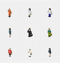 Isometric person set of investor male seaman and vector