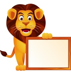 lion and blank sign vector image vector image