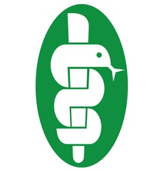 medical symbol caduceus snake with stick vector image