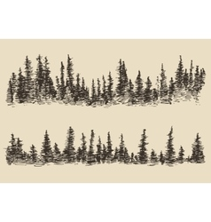 Mountains Contours Fir Forest Engraving vector image