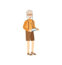 Old Man With Tablet And Headphones vector image vector image