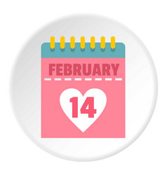 Pink valentines day calendar icon circle vector