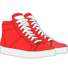 Red sports shoes vector