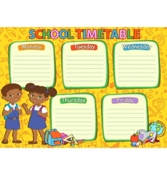 School timetable thematic image vector