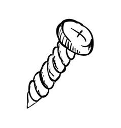 Screw doodle draw vector