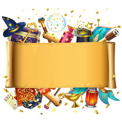 scroll with magic accessories vector image vector image
