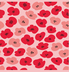 Seamless pattern with stylized poppies vector