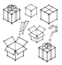 Set of black and white sketches of gifts vector image vector image