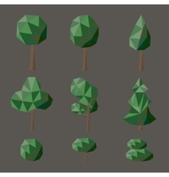 Set polygonal deciduous vector