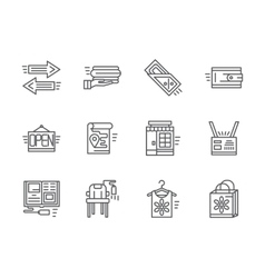 Simple line online commission store icons vector