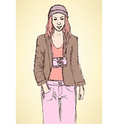 Sketch cute hipster girl in vintage style vector image