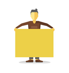 striking man holding empty yellow banner isolated vector image vector image