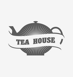 Tea house logo or badge template with tea pot vector