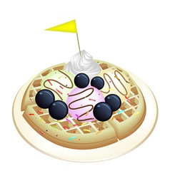 Tradition Waffle with Blueberries and Ice Cream vector image vector image