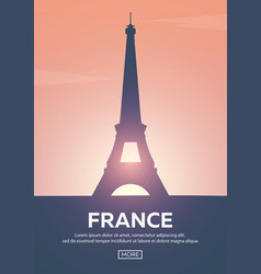 Travel poster to france landmarks silhouettes vector