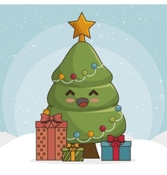 tree merry christmas character icon vector image vector image