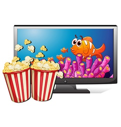 Tv and popcorn vector
