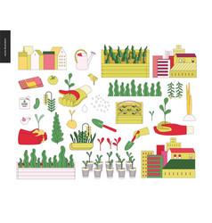 Urban farming and gardening elements vector