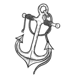 Vintage anchor with rope vector