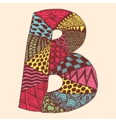 Vintage monogram B Doodle colorful alphabet vector image