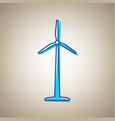 wind turbine logo or sign sky blue icon vector image vector image
