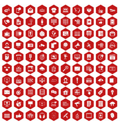 100 information technology icons hexagon red vector