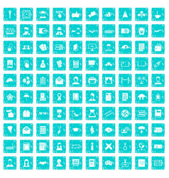 100 writer icons set grunge blue vector