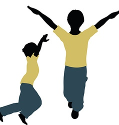 Boy silhouette in jumping pose vector