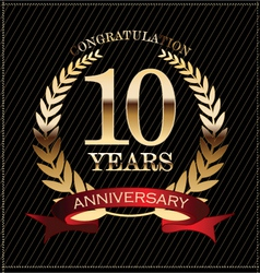 10 years anniversary golden laurel wreath vector
