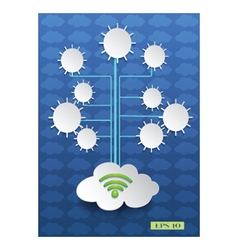 Cloud computing on blue background vector