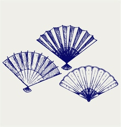Japanese folding fan vector
