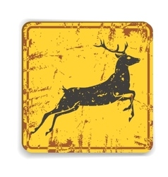 Old metal road warning sing with deer silhouette vector