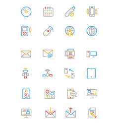 Communication Colored Outline Icons 7 vector image