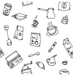 Seamless pattern set of coffee and tea vector