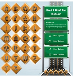 Road street and traffic sign alphabet character vector