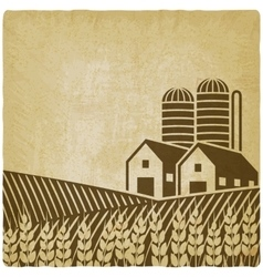 Farm in field old background vector